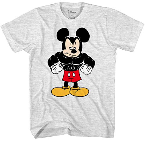 Disney Tough Mickey Mouse Men's Adult Graphic Tee T-Shirt (Large, Ash Heather)