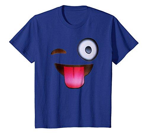 Kids Crazy Funny Tongue Wink Face T-Shirt 8 Royal Blue ()