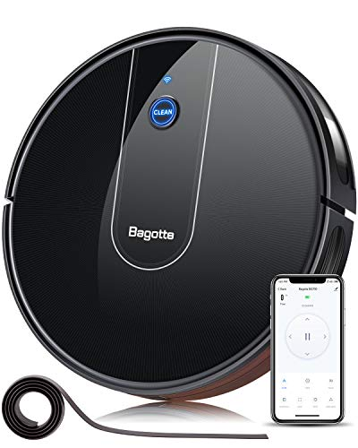 Robotic Vacuum Cleaner – Bagotte BG700 1600PA Wi-Fi App-Controlled Super-Thin Quiet Self-Charging Robot Vacuum with Boundary Strip for Pet Hair,Hard Floors to Medium-Pile Carpets