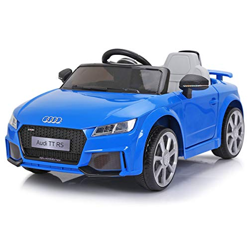 JAXPETY Audi TT 12V Electric Kids Ride On Car Licensed MP3 LED Lights RC Remote Control (Blue) ()