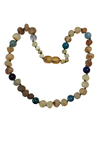 Toddler Stone - Certified Baltic Amber and Gemstone Necklace by UMAI - Pain Relief from Teething - Unisex- Safely Knotted Beads (Raw Honey and Blue Gemstones)