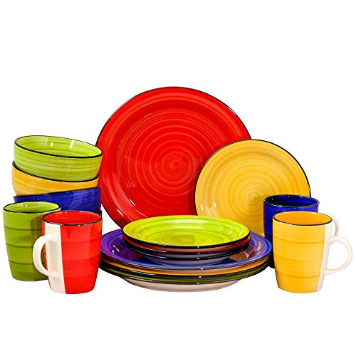 Color Vibes 16-Piece Assorted Colors Round Dinnerware Set - 16 Home Piece