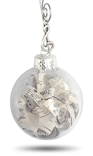 Vintage Sheet Music Notes in Glass Globe. Adorned with Treble Clef Charm . Music Lovers Ornament Decoration with Quote Card and Gift Box - Antique Vintage Sheet Music