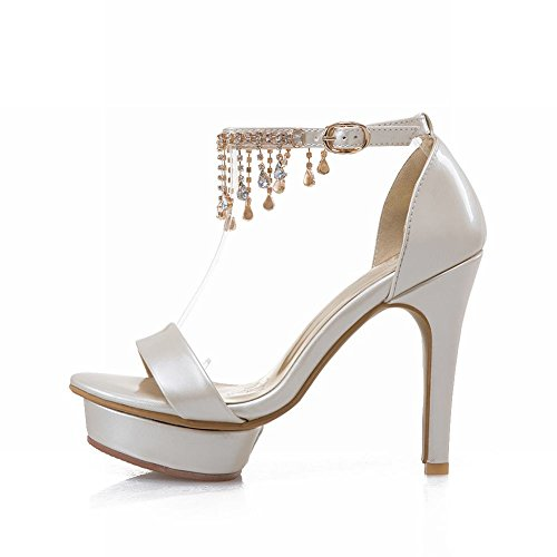 Damen high heels Plateau Schnalle Sandalen (36, Lila) Mee Shoes