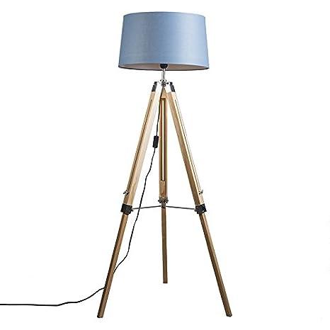 QAZQA Industrial Lámpara de pie TRIPOD natural con pantalla 45cm lino azul Madera/Metálica/Textil Alargada Adecuado para LED Max. 1 x Watt
