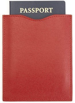 Royce Leather RFID Blocking Passport Sleeve in Saffiano Leather, Red