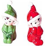 Vintage Style Retro Christmas Elves Salt & Pepper Shaker Set-Gift Boxed