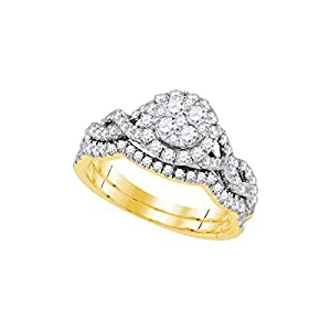 14kt Yellow Gold Womens Diamond Cluster Bridal Wedding Engagement Ring Band Set 7/8 Cttw