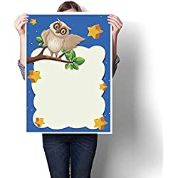 "bybyhome Living Room Home Office Decorations Border Template with owl on Branch in Background Decorative Fine Art Canvas Print Poster K 20"" x L 28"""