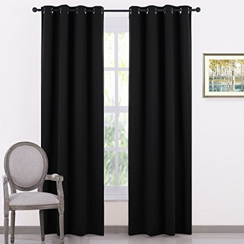 PONY DANCE Bedroom Blackout Curtains - Black Out Curtain Panels Energy Saving Light Blocking Thermal Drapes/Home Decor Modern for Kids Nursery Good Sleep, 55 Wide by 80 in Long, Black, 2 Pcs
