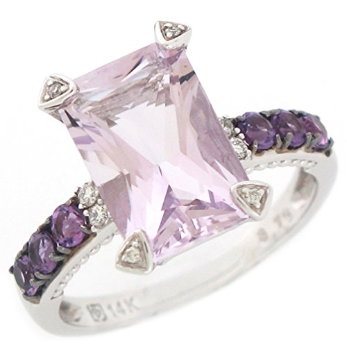 (14k White Gold Real Diamond Amethyst and Rose De France Amethyst Ladies Ring)
