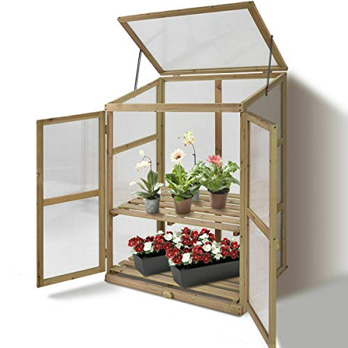 Solid Wooden Greenhouse Cold Frame Garden Raised Plants Flowers Shelves Protection Portable, Durable and Sturdy, Suitable for Backyard, Garden, Yard, and Living Space