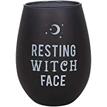 Attitude Clothing Resting Witch Face Stemless Wine Glass - Collectible Gothic