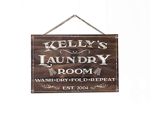 Artblox Personalized Rustic Laundry Room Wood Sign Home Decor - Vintage Custom Name and Established Year, Premium Pine Wood Farmhouse Style Wooden Wall Art Country Pallet Plaque 13x9 - Brown ()