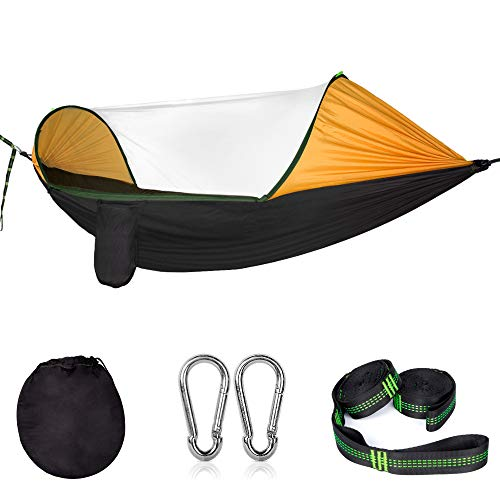 Cambond 2 in 1 Large Camping Hammock with Mosquito Net, Lightweight Portable Hanging Hammock with Tree Straps Parachute Nylon Outdoor Hammock Tent Bed for Backpacking Hiking Beach Fishing - Picnic Net Tent With
