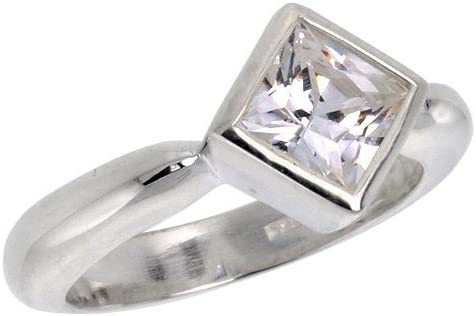 Real Sterling Silver Men Ring 8mm Cubic Zirconia Solitaire Jewelry Size 6 to 13