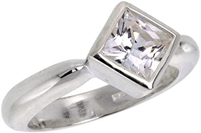 Available in Sizes 6 to 10 Sterling Silver 1.25 Carat Size Brilliant Cut Cubic Zirconia Bridal Ring size 7