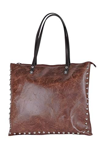 In Véritable Made Brun Borderline Iris Cuir Clair Femme 100 sac En Italy gEwOq