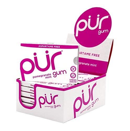 (The PUR Company  | Sugar-Free + Aspartame-Free Chewing Gum  | 100% Xylitol  | Pomegranate Mint | Vegan + non GMO  | 9 Pieces per Pack (Tray)