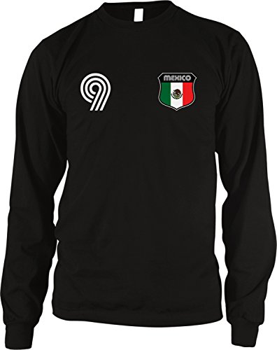 Amdesco Mexico Soccer Style Crest and Number Men's Long Sleeve Thermal Shirt, Black Large