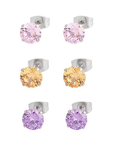 Stainless Steel 7mm Ear Piercing Earrings Studs (Pink) - 7