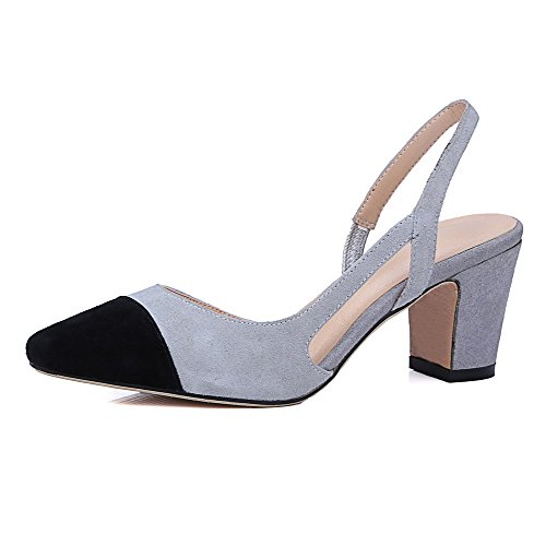 AllhqFashion Womens Imitated Suede Assorted Color Pull-on Square Toe Kitten-Heels Sandals Gray yBr3H