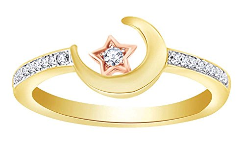 Wishrocks Round Cut Natural Diamond Moon and Star Ring in 14K Yellow Gold Over Sterling Silver (0.10 - Engagement Moon Ring Diamond Setting