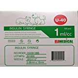 "Elimedical Veterinary Use Insulin Syringe 40IU 1ml 28G x 1/2"" 100PC Free Shipping 10V2813BB"