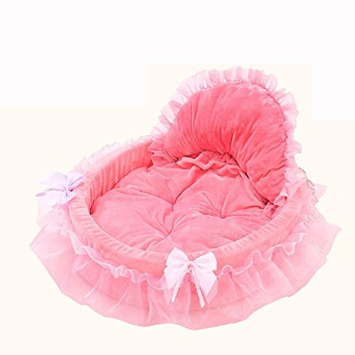 Binmer(TM) Pet Dog Puppy Princess Bows Lace Heart Elegant Lovely Bed Doghouse Pet Warm Bed (Pink)