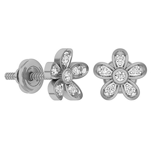 Dazzlingrock Collection 0.10 Carat (ctw) 10K Round Diamond Ladies Flower Shaped Stud Earrings 1/10 CT, White Gold