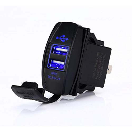 (4.2 AMPS-Fast Dual USB Charger Rocker Switch Style Blue LED Back-lit for Boats, Polaris RZR 900, RZR 1000, Ranger, RV, Can Am Spyders, Can Am Maverick, Can AM SxS, Golf Cart, Jeep Wrangler )
