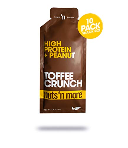 Nuts N More Toffee Crunch Peanut Spread, Keto, High Protein Nut Butter Snack, Low Carb, Low Sugar, Gluten-Free, All Natural, 10-Pack Snack Size