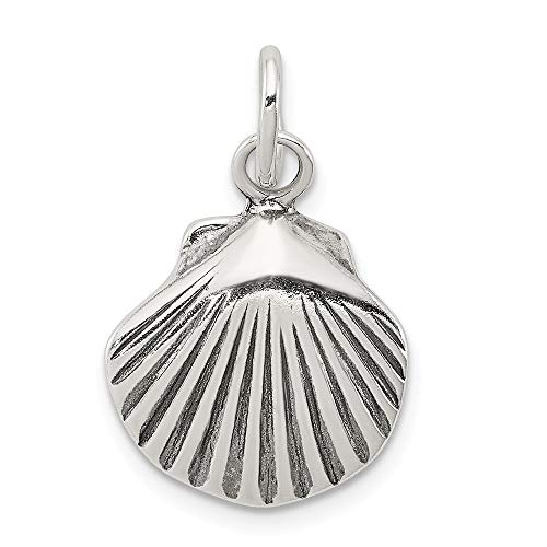 Sterling Silver 15mm Antiqued Seashell Charm or Pendant ()