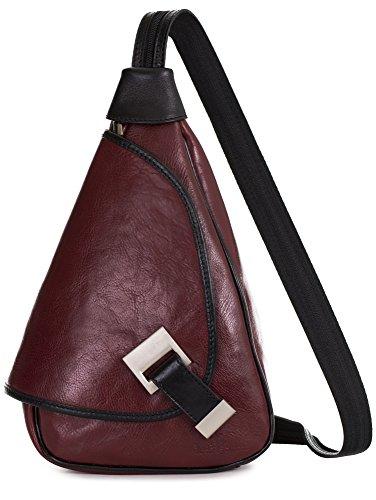'Mila' de LiaTalia - 2en1 - Pequeño bolso de hombro para mujer ligero y convertible en mochila en auténtica piel italiana Rojo Obscuro - Con Borde Negro