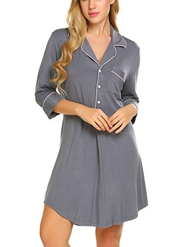 Ekouaer Boyfriend Style Sexy Cotton Nightgown Sleep Shirt For Women,Gray(3/4 Sleeve),XX-Large