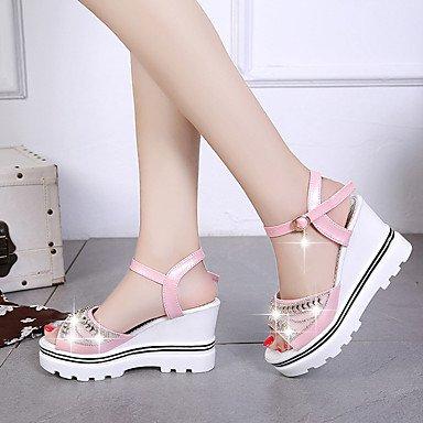 LvYuan Mujer Sandalias PU Verano Paseo Pedrería Tacón Plano Blanco Rosa Azul Claro 7'5 - 9'5 cms blushing pink