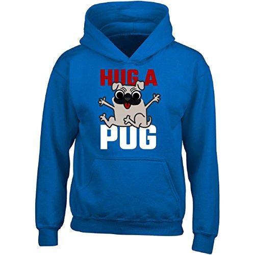 Hug A Pug Dog Pet Owner Best Friend Canine Puppy - Adult Hoodie L Royal