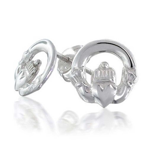 Bling Jewelry Celtic Claddagh Round Cut Out Stud earrings 925 Sterling Silver 10mm (Cut Out Round Earrings)