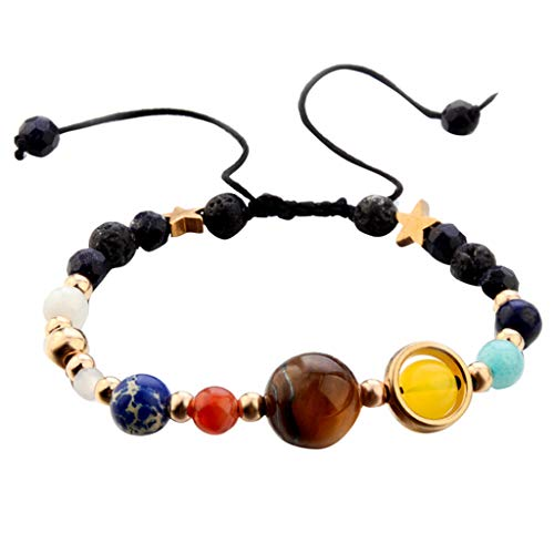 Galaxy Solar System Eight Planets Theme Guard Star Natural Stone Beaded Lucky Yoga Handmade Bracelet for Girls