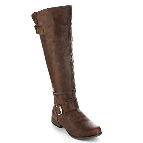 Per Sempre Leggenda-23 Donna Con Tacco A Fibbia Cinturino Con Borchie Stivali Alti Da Equitazione Marrone