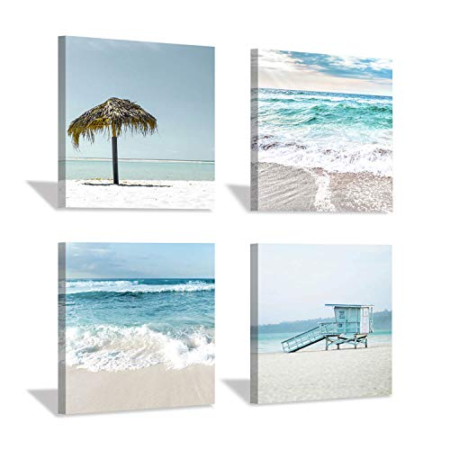 Beach Theme Canvas Wall Art: Coastal Crashing Waves, Lifeguard Tower, Sun Umbrella Artwork Print for Office Bedroom Decor(12''x12''x4pcs)