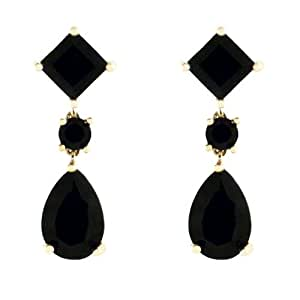 10k Yellow Gold Pear and Square Shaped Black Onyx Dangle Earrings