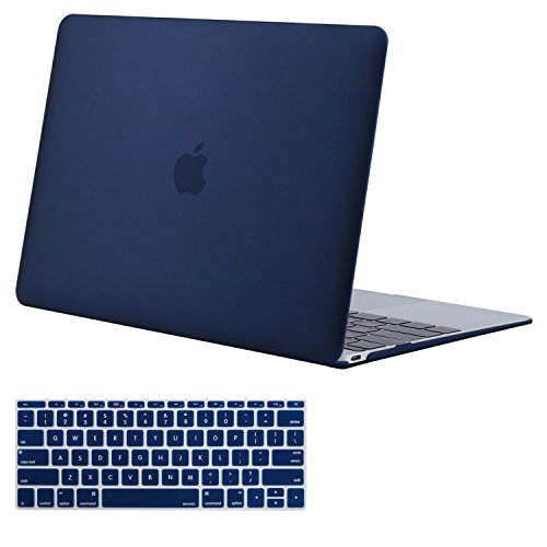 MOSISO Plastic Hard Shell Case & Keyboard Cover Compatible MacBook 12 Inch Retina Display Model A1534 (Newest Version 2017/2016/2015), Navy Blue
