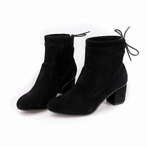Latasa Womens Faux Nubuck Chunky Heels Cold Weather Casual Boots Black weiOS