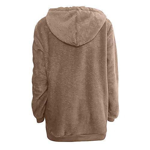 con Grande Capucha para Mujer Abrigo QinMM Hoodie sólido otoño de Khaki Invierno Talla Sudadera HTaaw1