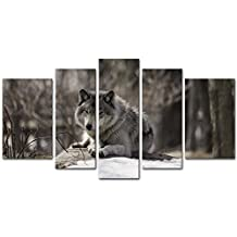 5 Pieces Modern Canvas Painting Wall Art The Picture For Home Decoration Wolf In A Wintery Landscape In Black And White Animal Wolf Print On Canvas Giclee Artwork For Wall Decor
