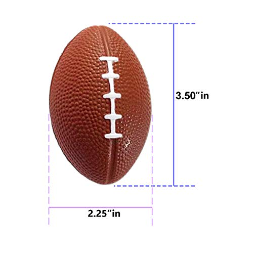 Mini Sports Balls for Kids Party Favor Toy, Soccer Ball, Basketball, Football, Baseball (12 Pack) Squeeze Foam for Stress, Anxiety Relief, Relaxation. (12 Pack (Footballs))