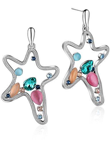 Earrings Multicolor Crystal From Swarovski Sea Star Animal Earrings for Women Girls Gifts ()