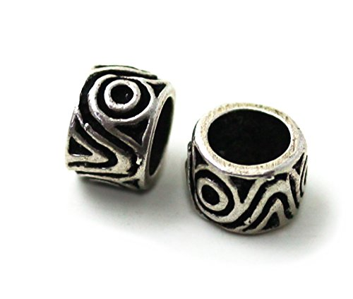 LynnAround 925 Sterling Silver Norse Viking Celtic Beard Beads Rings, Dreadlock Pirate Hair Beads, Pagan -