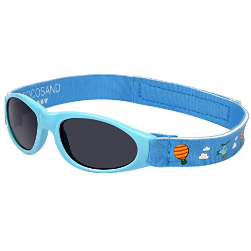 Baby Infant UV400 Sunglasses with Adjustable Straps & Pattern Printing Age: 0-2 Yrs(Sky - Baby Sunglasses Beaba
